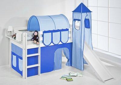 Halfhoogslaper Blue met tent, toren en glijbaan