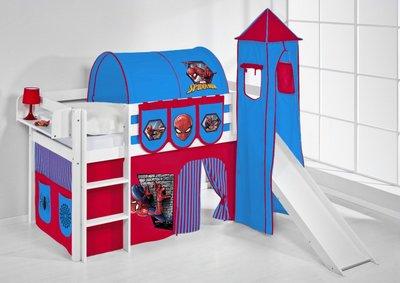 Halfhoogslaper Spiderman met tent, toren en glijbaan