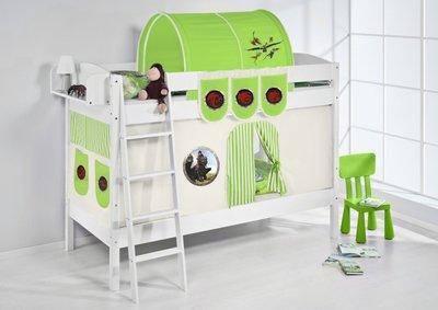 Stapelbed IDA Dragons Groen met tent en lattenbodems