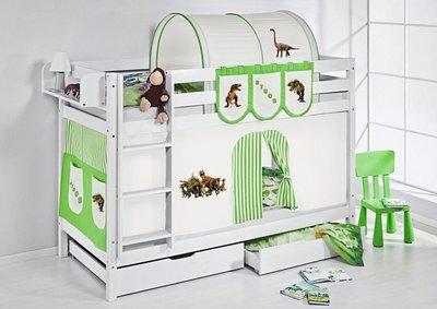 Stapelbed Dino Groen met tent en lattenbodems