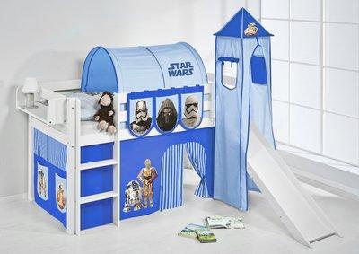Halfhoogslaper Star Wars Blauw met tent, toren en glijbaan