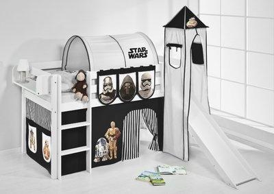 Halfhoogslaper Star Wars Zwart met tent, toren en glijbaan