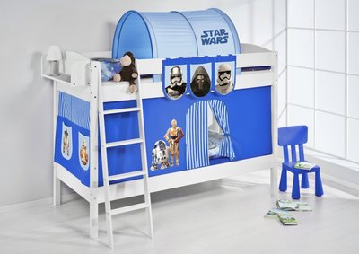 Stapelbed IDA Star Wars Blauw met tent en lattenbodems